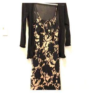 Dress with sheer black cardigan